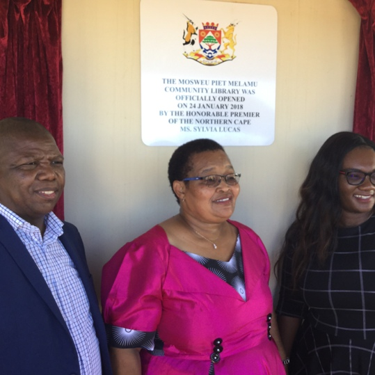 MEC for social development , premier and MEC for sport , arts and culture at the opening of the library in Logaganeng